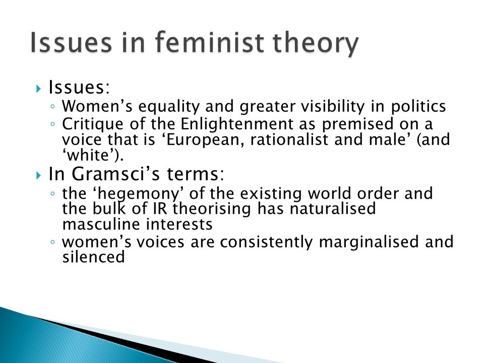  Issues: ◦ Women's equality and greater visibility in politics ◦ Critique of the Enlightenment as premised on a voice that is 'European, rationalist