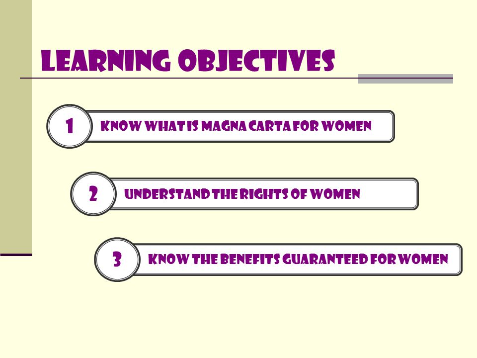 Learning Objectives 2 Understand the rights of women 3 Know the benefits guaranteed for women 1 Know What is magna carta for women