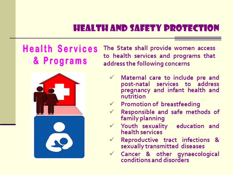 Health and safety protection The State shall provide women access to health services and programs that address the following concerns Maternal care to
