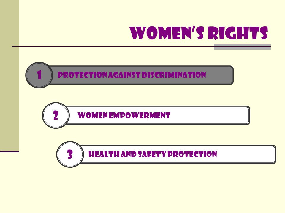Women's rights 2 WOMEN EMPOWERMENT 3 HEALTH AND SAFETY PROTECTION 1 PROTECTION AGAINST DISCRIMINATION