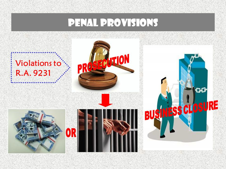 Penal provisions Violations to R.A. 9231