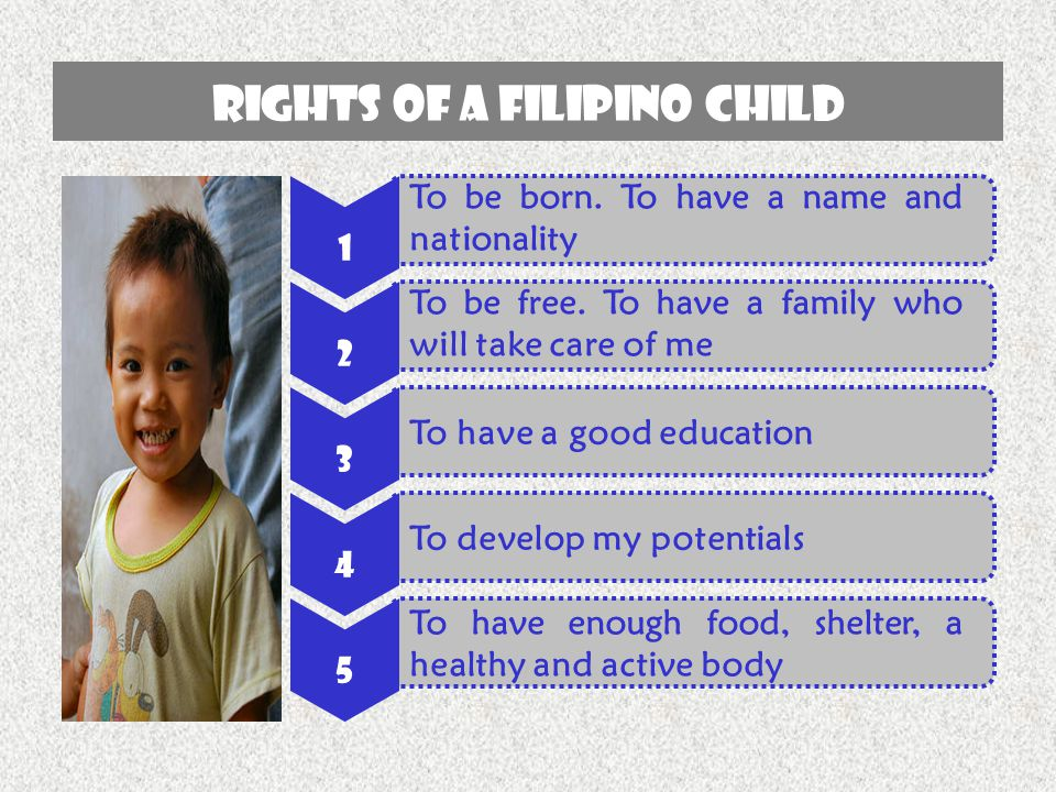 RIGHTS OF A FILIPINO CHILD 1 To be born. To have a name and nationality 2 To be free. To have a family who will take care of me 3 To have a good educa