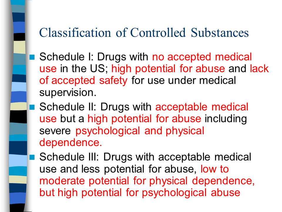 Classification of Controlled Substances Schedule I: Drugs with no accepted medical use in the US; high potential for abuse and lack of accepted safety for use under medical supervision.