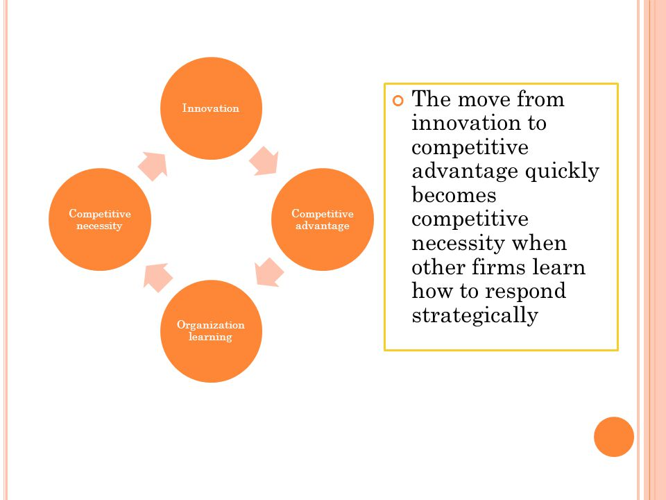 Innovation Competitive advantage Organization learning Competitive necessity The move from innovation to competitive advantage quickly becomes competi