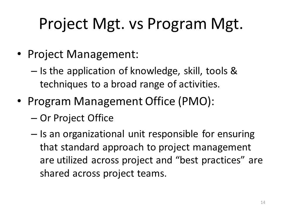 Project Mgt. vs Program Mgt.