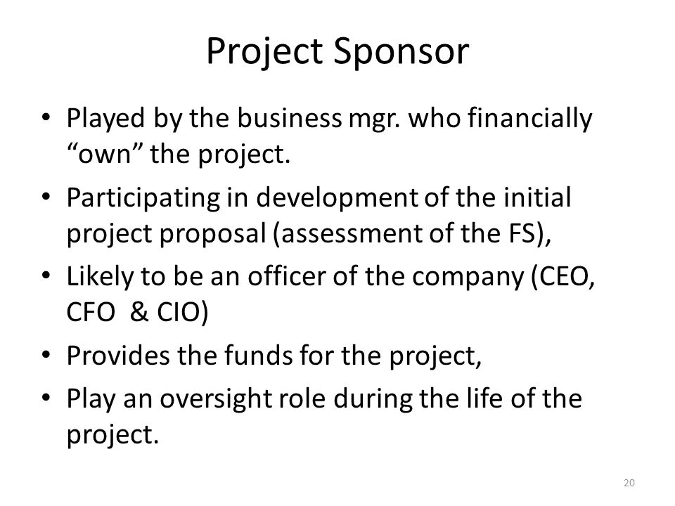 Project Sponsor Played by the business mgr. who financially own the project.