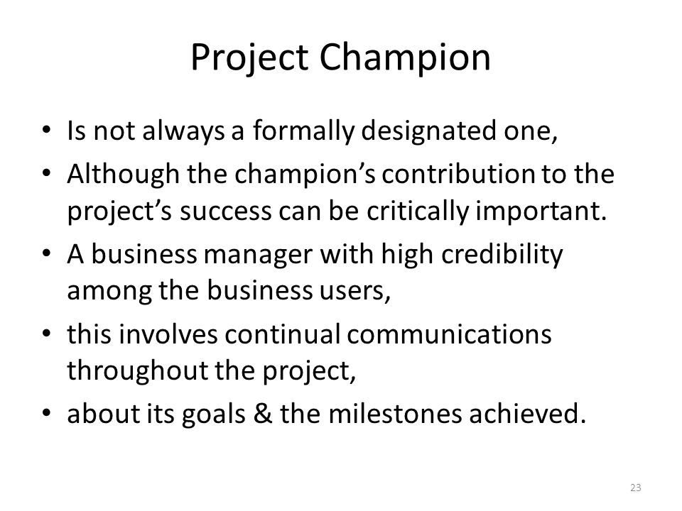 Project Champion Is not always a formally designated one, Although the champion's contribution to the project's success can be critically important.