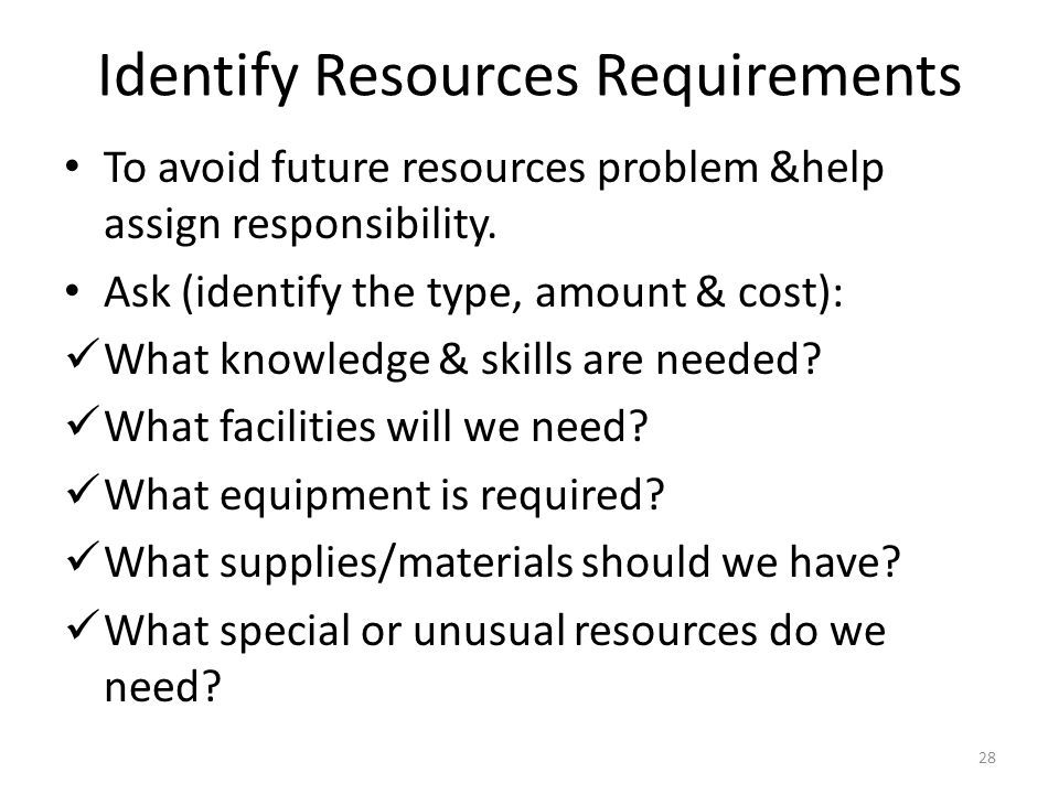 Identify Resources Requirements To avoid future resources problem &help assign responsibility.