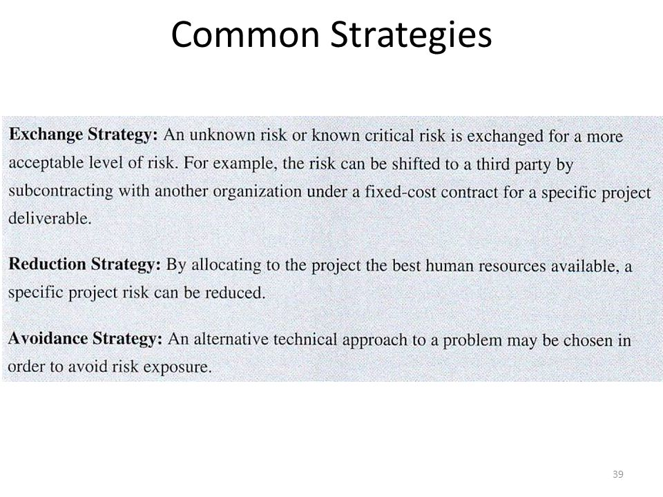 Common Strategies 39