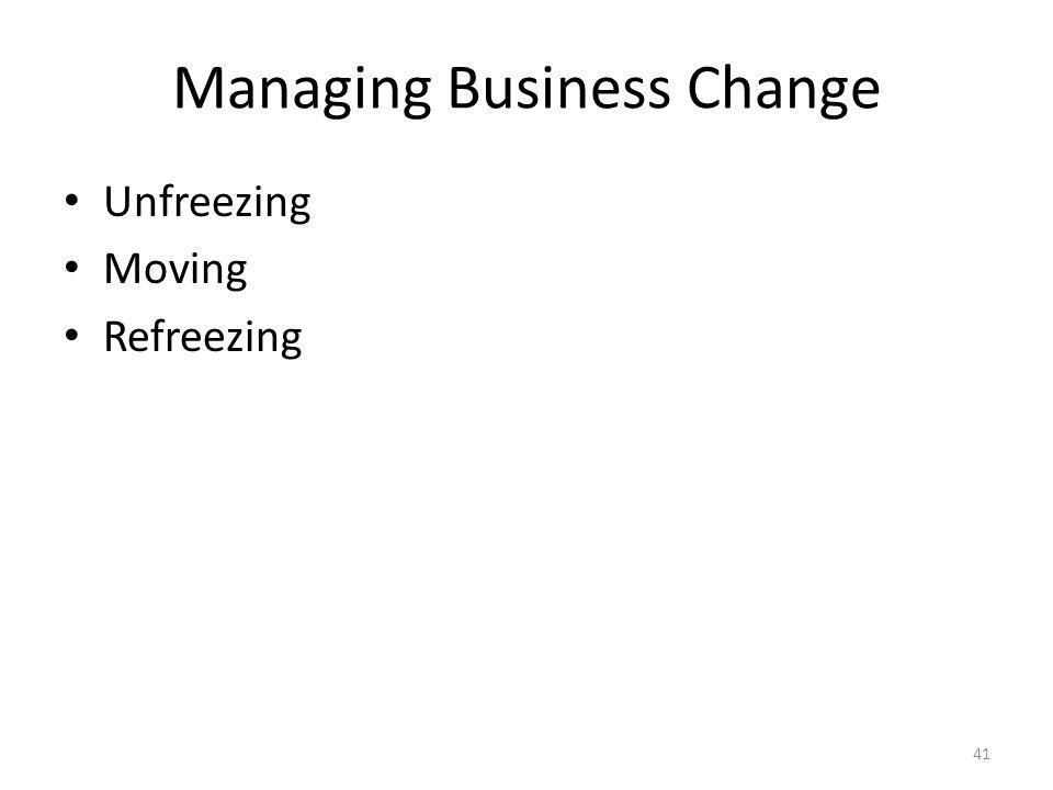 Managing Business Change Unfreezing Moving Refreezing 41