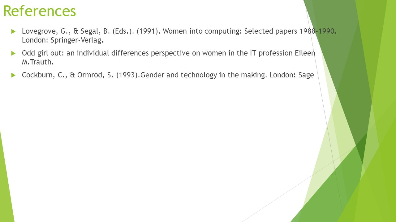 References  Lovegrove, G., & Segal, B. (Eds.). (1991). Women into computing: Selected papers 1988-1990. London: Springer-Verlag.  Odd girl out: an i
