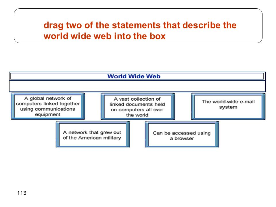 113 drag two of the statements that describe the world wide web into the box
