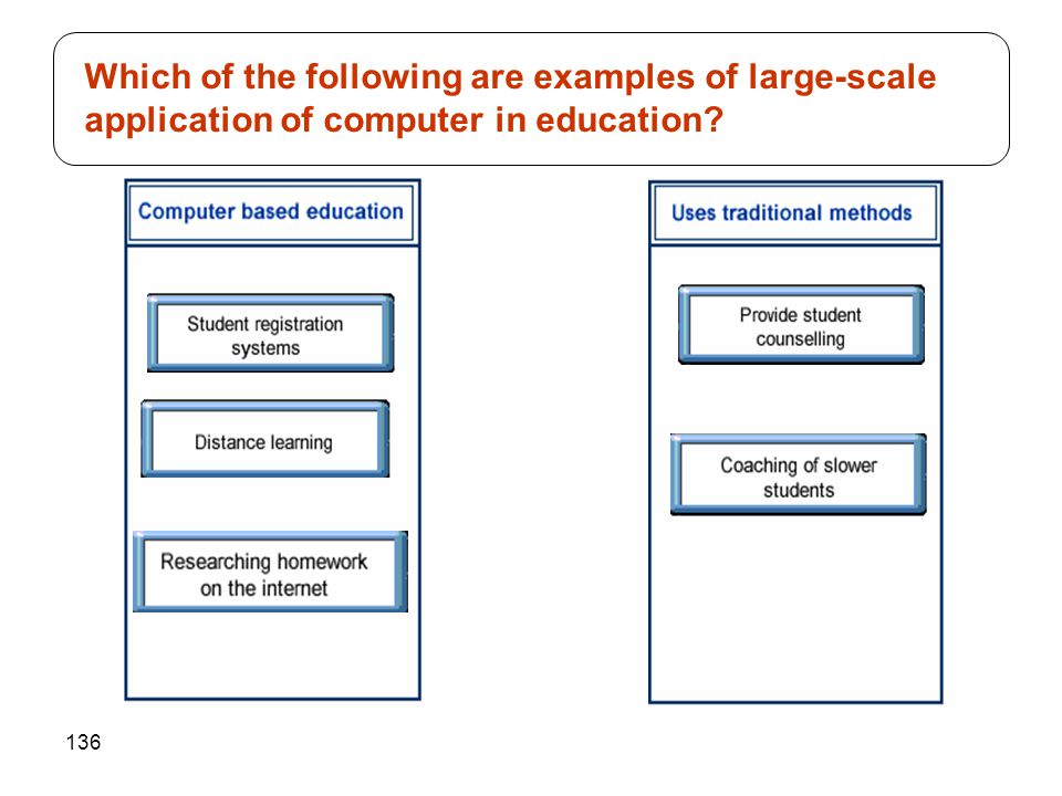 136 Which of the following are examples of large-scale application of computer in education