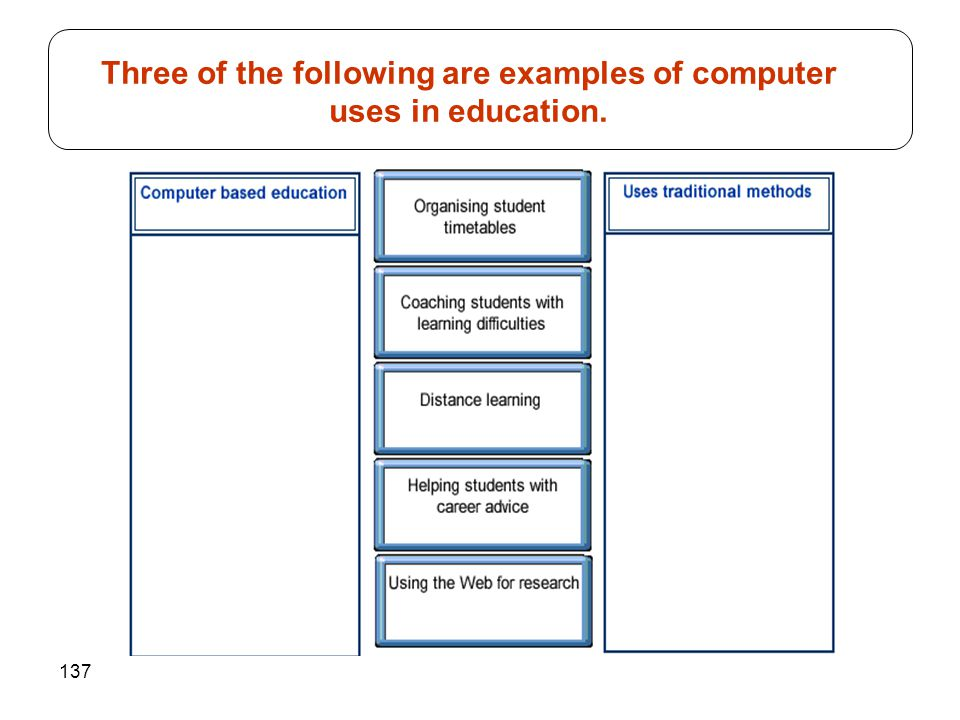 137 Three of the following are examples of computer uses in education.
