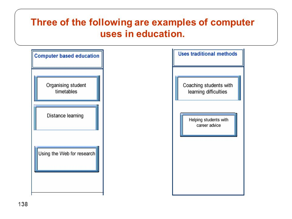 138 Three of the following are examples of computer uses in education.