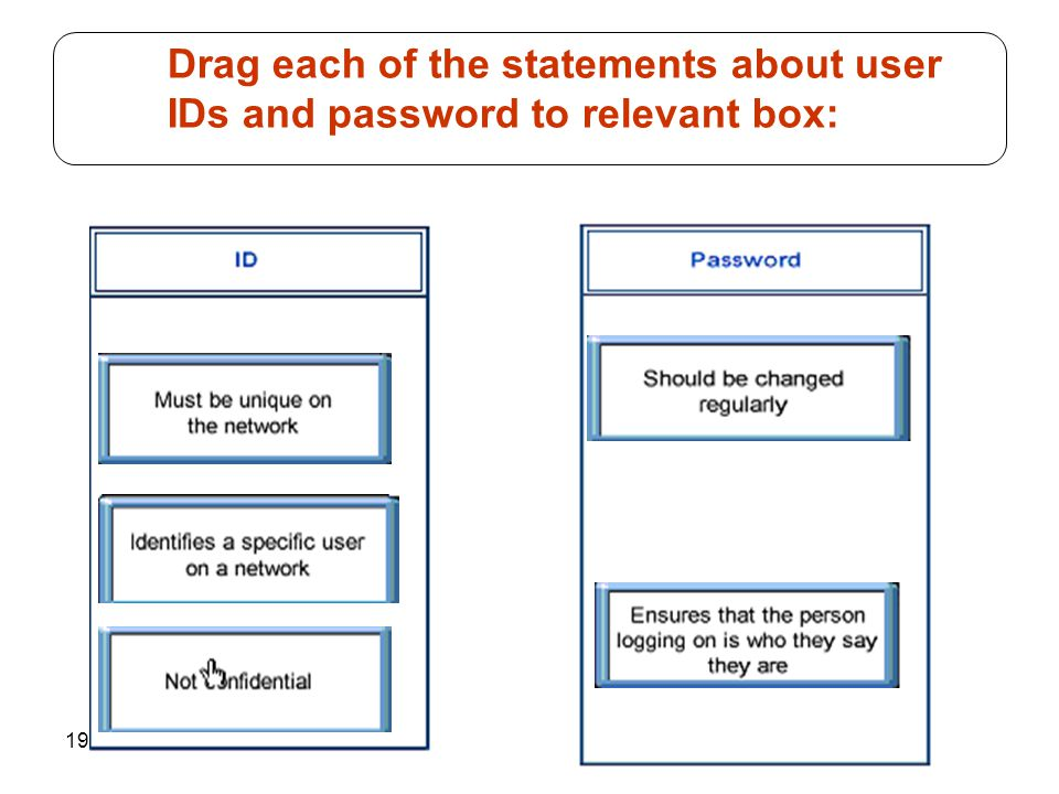 194 Drag each of the statements about user IDs and password to relevant box:
