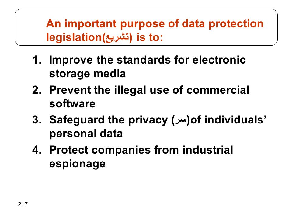 217 1.Improve the standards for electronic storage media 2.Prevent the illegal use of commercial software 3.Safeguard the privacy ((سرof individuals' personal data 4.Protect companies from industrial espionage An important purpose of data protection legislation(تشريع) is to: