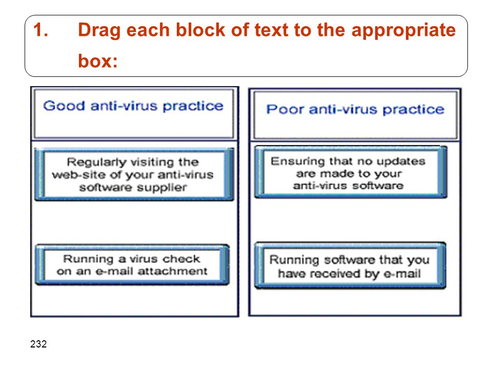 232 1.Drag each block of text to the appropriate box: