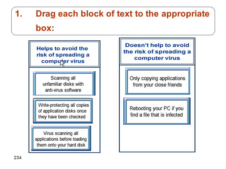 234 1.Drag each block of text to the appropriate box: