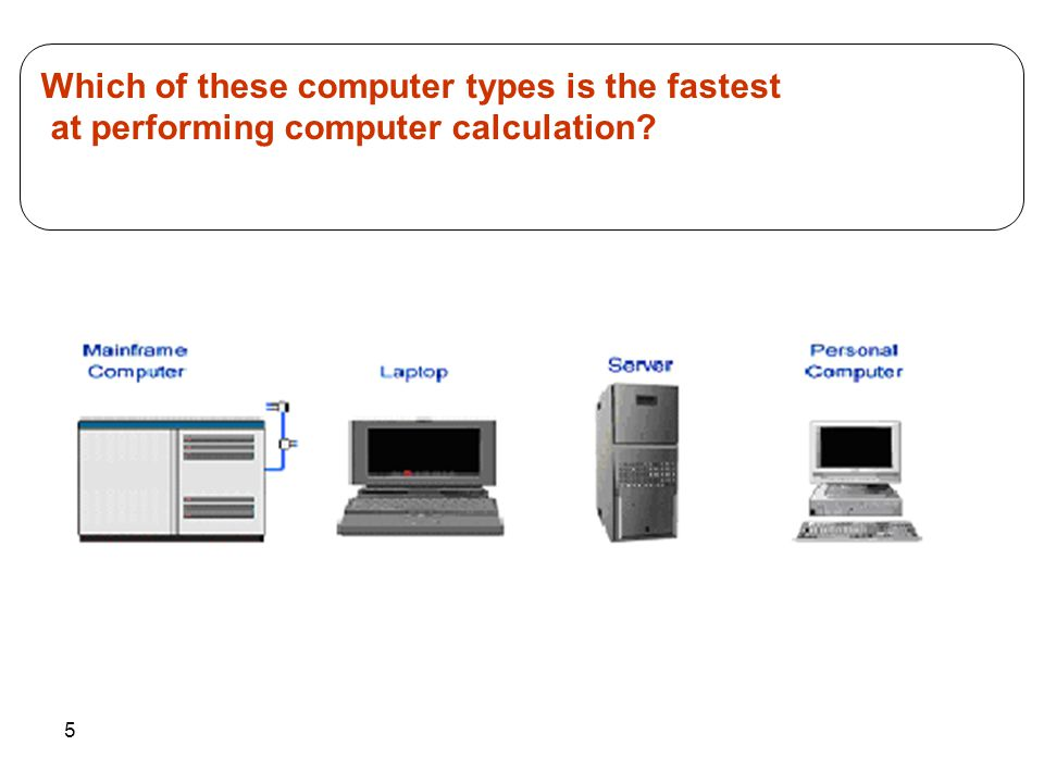 5 Which of these computer types is the fastest at performing computer calculation