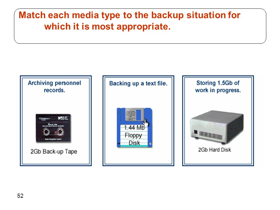52 Match each media type to the backup situation for which it is most appropriate.