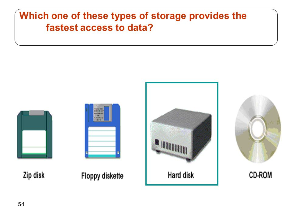 54 Which one of these types of storage provides the fastest access to data?