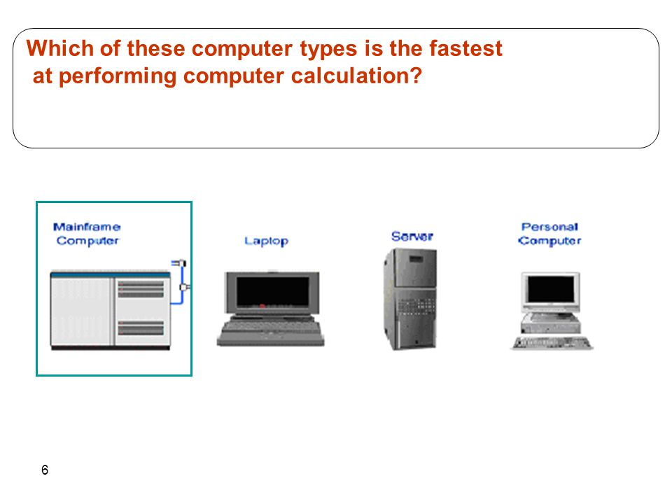 6 Which of these computer types is the fastest at performing computer calculation?