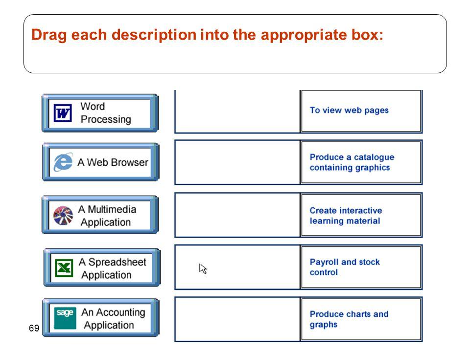 69 Drag each description into the appropriate box: