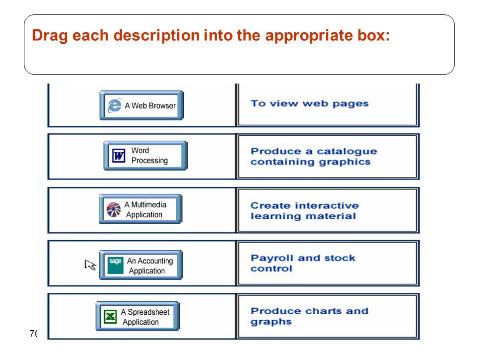 70 Drag each description into the appropriate box: