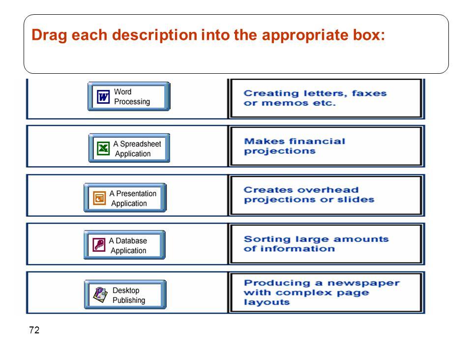 72 Drag each description into the appropriate box: