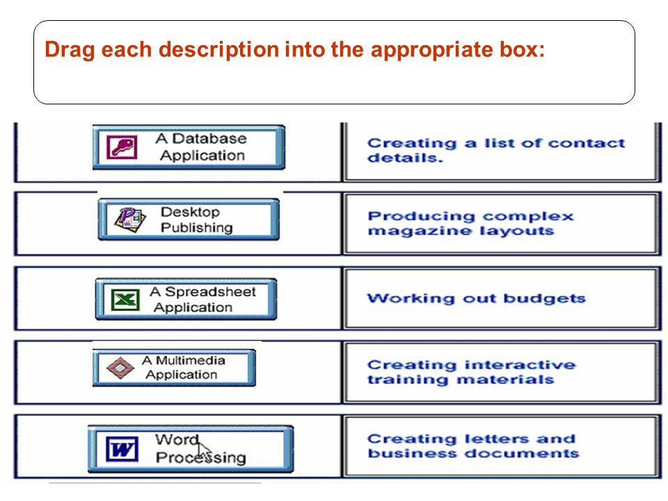 74 Drag each description into the appropriate box: