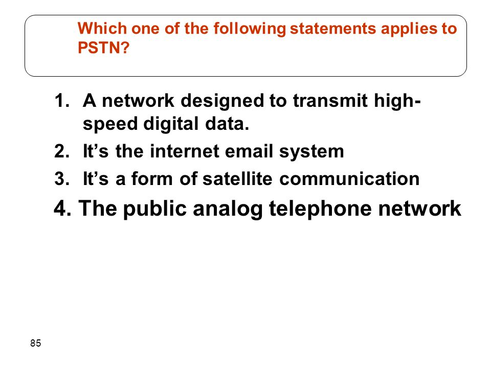 85 1.A network designed to transmit high- speed digital data.