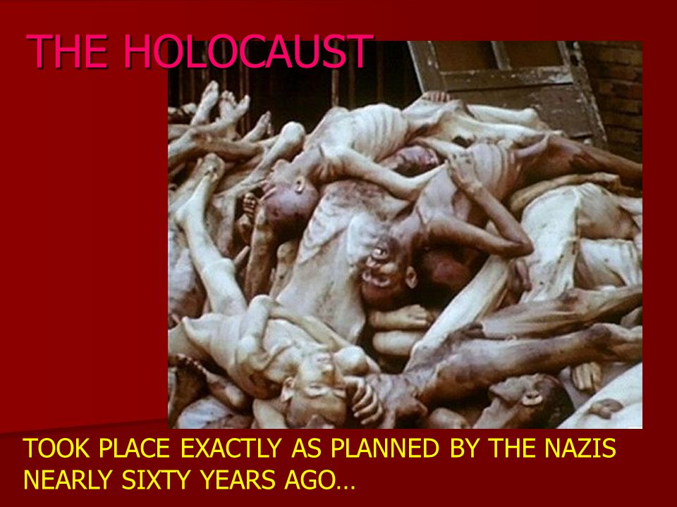TOOK PLACE EXACTLY AS PLANNED BY THE NAZIS NEARLY SIXTY YEARS AGO… THE HOLOCAUST
