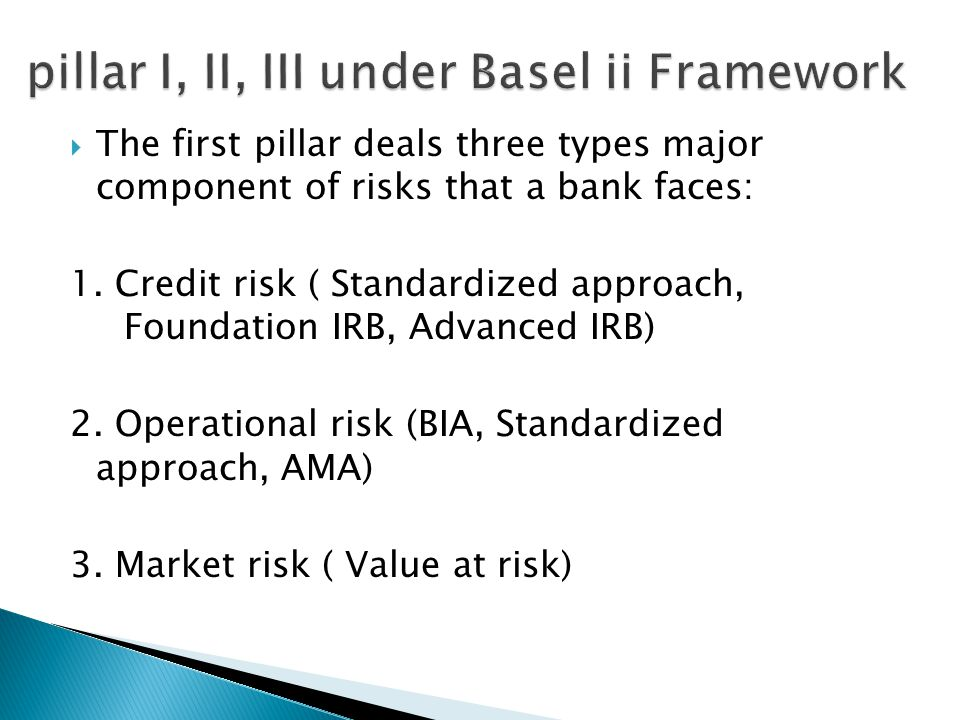  The first pillar deals three types major component of risks that a bank faces: 1.