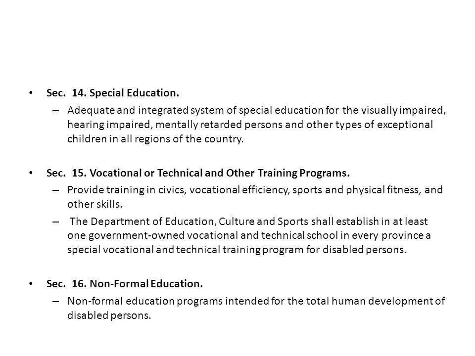 Sec. 14. Special Education.