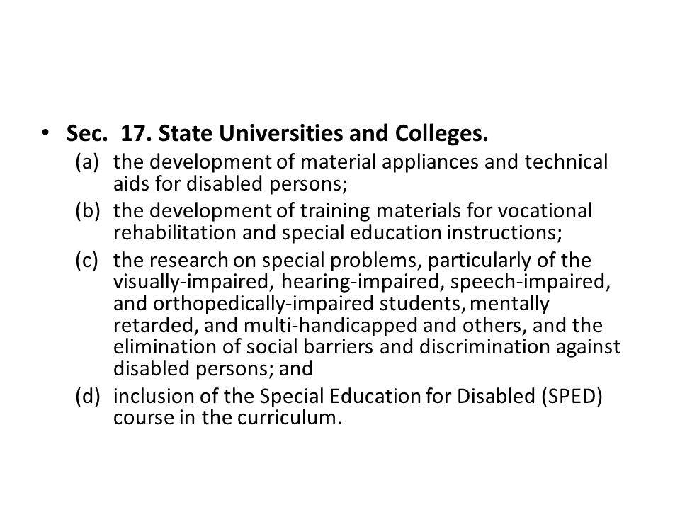 Sec. 17. State Universities and Colleges.