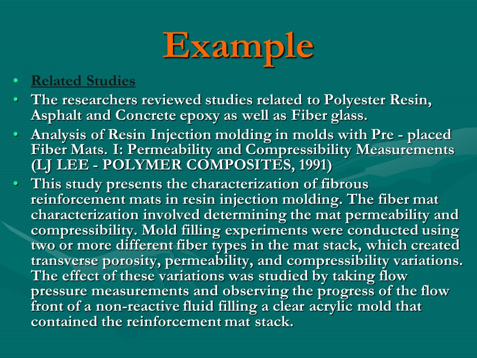 Example Related Studies The researchers reviewed studies related to Polyester Resin, Asphalt and Concrete epoxy as well as Fiber glass.The researchers