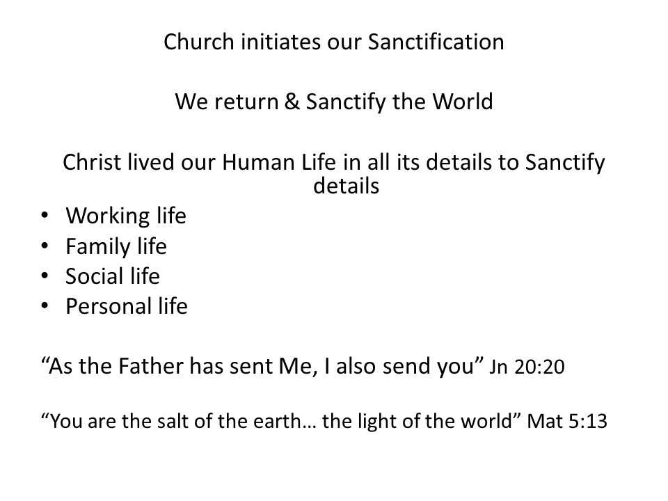 Church initiates our Sanctification We return & Sanctify the World Christ lived our Human Life in all its details to Sanctify details Working life Family life Social life Personal life As the Father has sent Me, I also send you Jn 20:20 You are the salt of the earth… the light of the world Mat 5:13