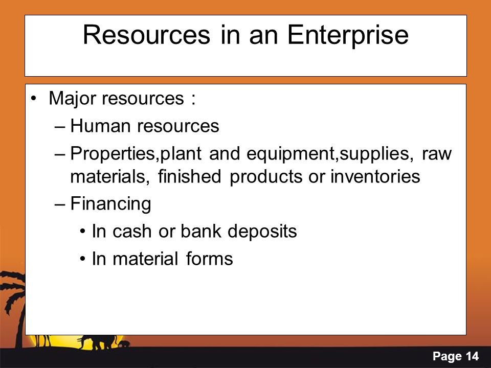 Page 14 Resources in an Enterprise Major resources : –Human resources –Properties,plant and equipment,supplies, raw materials, finished products or in