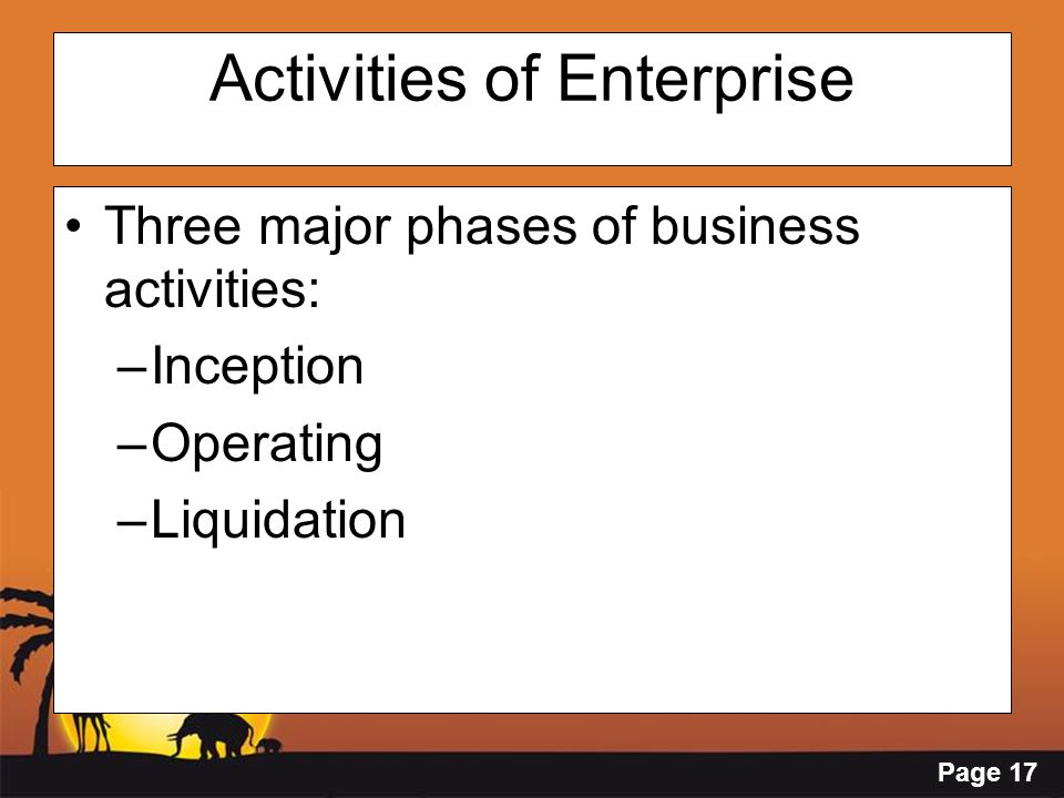 Page 17 Activities of Enterprise Three major phases of business activities: –Inception –Operating –Liquidation