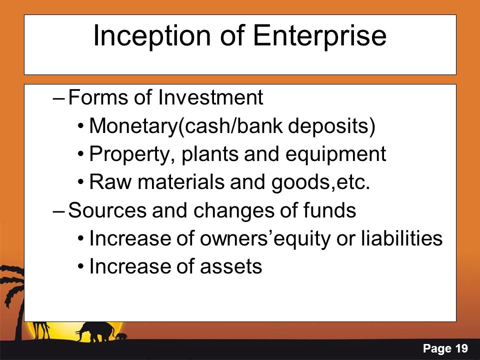Page 19 Inception of Enterprise –Forms of Investment Monetary(cash/bank deposits) Property, plants and equipment Raw materials and goods,etc. –Sources