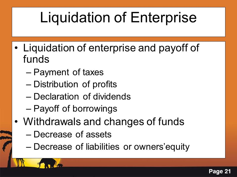 Page 21 Liquidation of Enterprise Liquidation of enterprise and payoff of funds –Payment of taxes –Distribution of profits –Declaration of dividends –