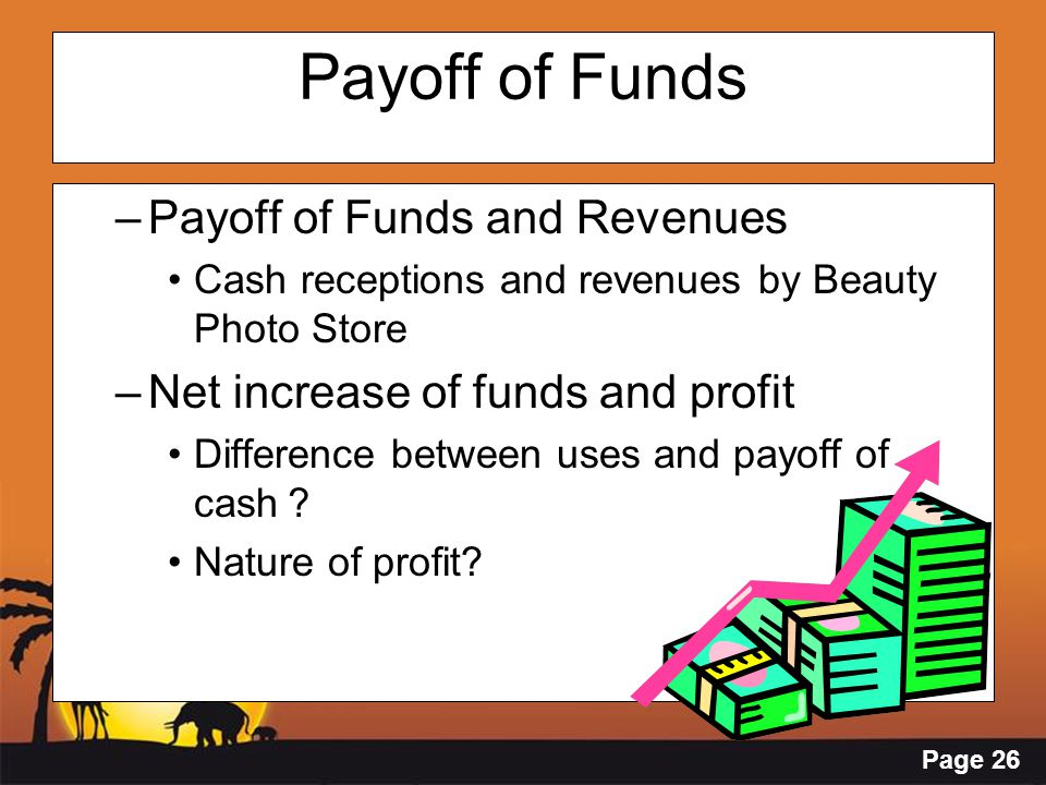 Page 26 Payoff of Funds –Payoff of Funds and Revenues Cash receptions and revenues by Beauty Photo Store –Net increase of funds and profit Difference