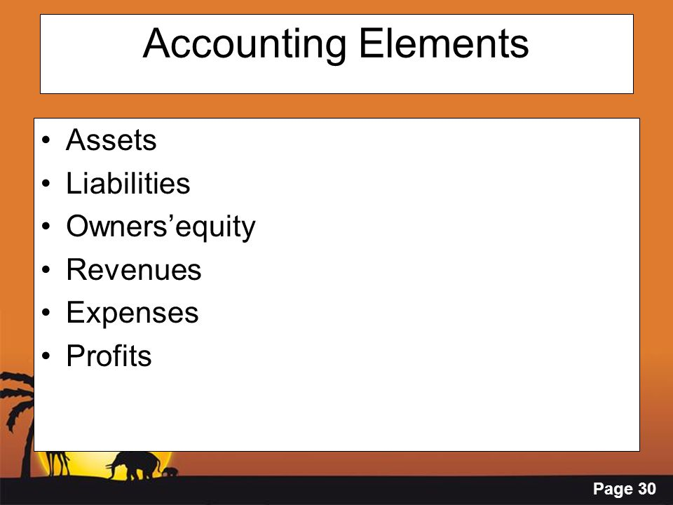 Page 30 Accounting Elements Assets Liabilities Owners'equity Revenues Expenses Profits