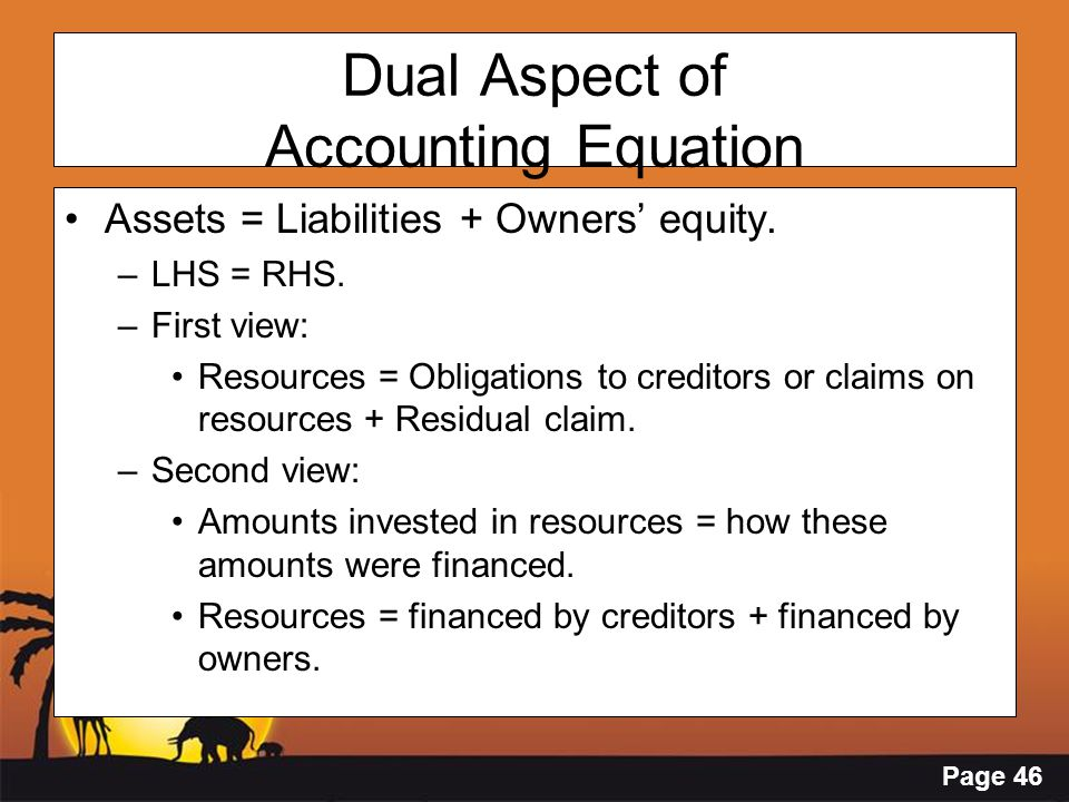 Page 46 Dual Aspect of Accounting Equation Assets = Liabilities + Owners' equity. –LHS = RHS. –First view: Resources = Obligations to creditors or cla