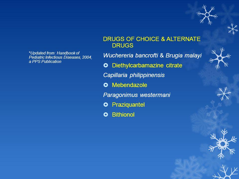 DRUGS OF CHOICE & ALTERNATE DRUGS Wuchereria bancrofti & Brugia malayi  Diethylcarbamazine citrate Capillaria philippinensis  Mebendazole Paragonimu