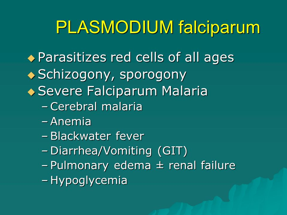 PLASMODIUM falciparum  Parasitizes red cells of all ages  Schizogony, sporogony  Severe Falciparum Malaria –Cerebral malaria –Anemia –Blackwater fe