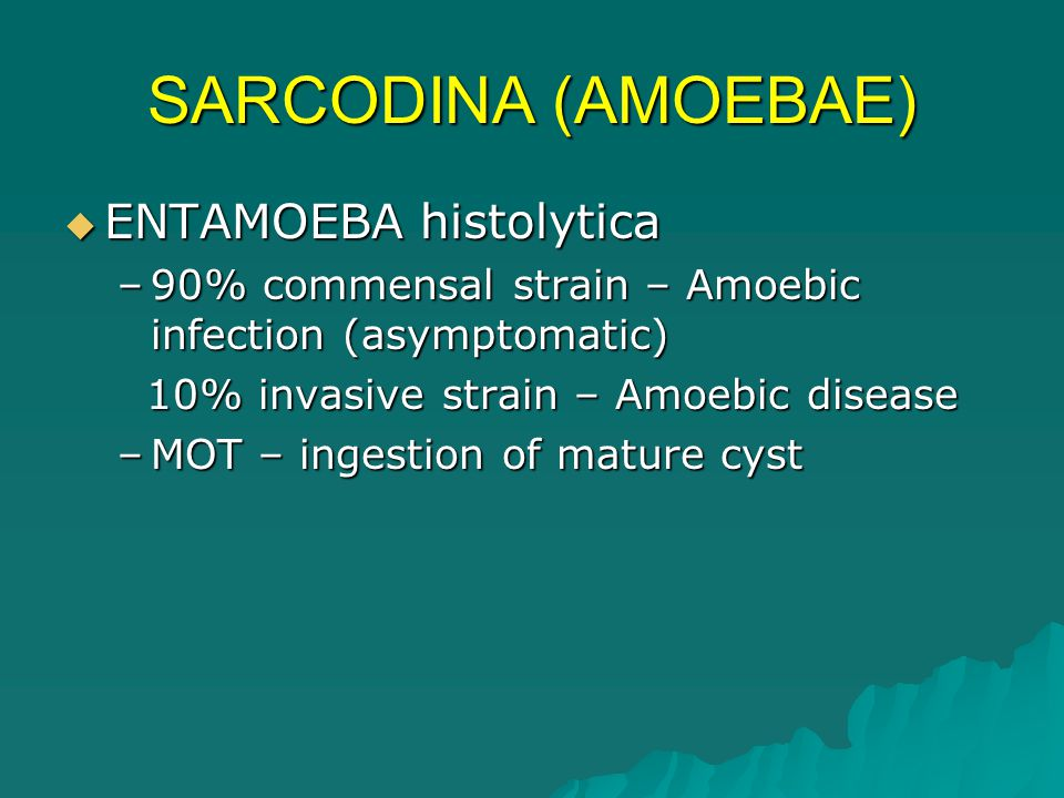 TRICHOMONAS vaginalis  MOT -sexually transmitted  common cause of acute vaginitis with yellow–green purulent discharge in females (urinary frequency)  Causes urethritis and purulent discharge in males  Infective stage: Flagellates (No cyst stage)