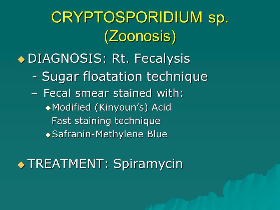 CRYPTOSPORIDIUM sp. (Zoonosis)  DIAGNOSIS: Rt. Fecalysis - Sugar floatation technique - Sugar floatation technique – Fecal smear stained with:  Modi