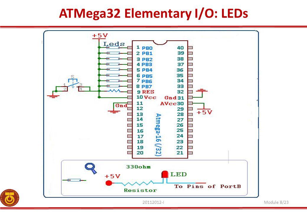 ATMega32 Elementary I/O: LEDs 20112012-IModule 8/23